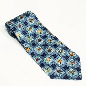 STRUCTURE Tie Designer Blue Flowers Window Pane US